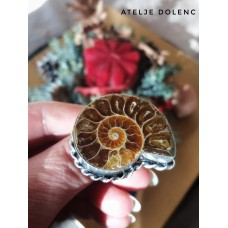 Silver fossil ring size 17,5